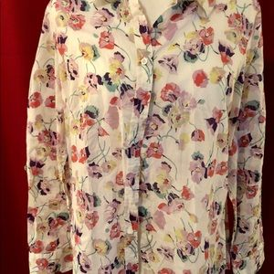 Talbots Floral Button up in size L